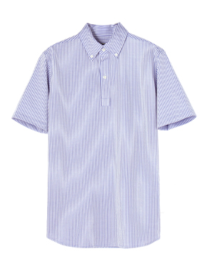 threedots�i�X���[�h�b�c�j��seersuck pullover shirt�i�V�A�T�b�J�[ �v���I�[�o�[�V���c�j