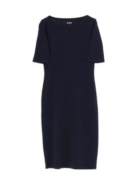 threedots(スリードッツ)のheritage rib dress elbow sleeve(コームドコットン シースドレス 五分袖)