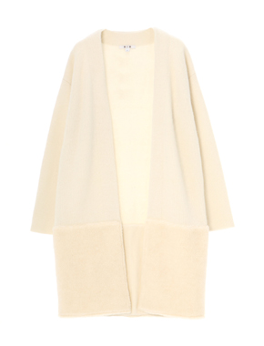 threedots(スリードッツ)のmilano rib knit coat w/sheep boa(ミラノリブ シープボアつきニットコート)