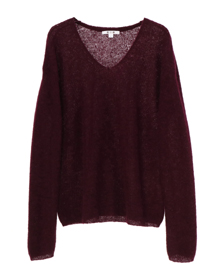 brushed alpaca l/s v-neck top