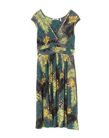 tropical print cap deep v dress