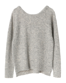 soft boucle knit open crew top