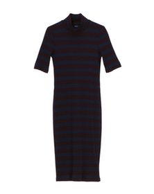 alpine stripe mock neck dress