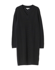 cable knit l/s v-neck dress