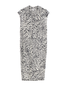 abstract dot print v-neck dress