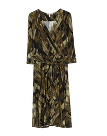 olive plaid print 3/4 wrap dress