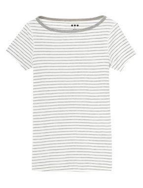 threedots(スリードッツ)のGinger cotton knit stripe(ジンジャー / コットンニット ストライプ 半袖)