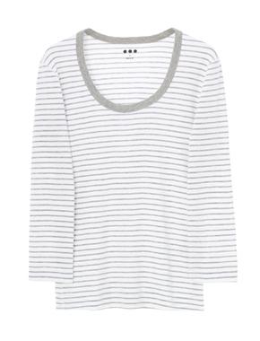 threedots(スリードッツ)のJessica T cotton knit 3/4(ジェシカ コットンニット ストライプ 七分袖)