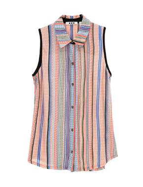 threedots(スリードッツ)のpanama stripe sleeveless shirt(パナマ ストライプ スリーブレス シャツ)