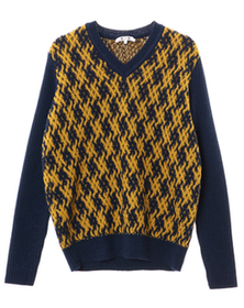 basket wave knit l/s v neck po