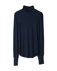 viscose rib mock neck top
