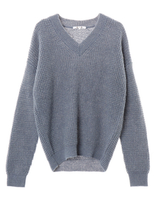 sparkle tuck stitch l/s v neck