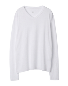 sueded slub knit l/s vneck