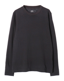 sueded slub knit crew neck
