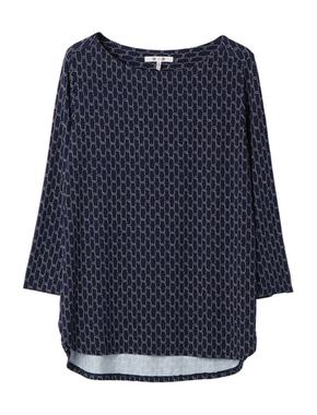 threedots(スリードッツ)のtravel line 3/4slv shirt tailtop(トラベルライン ローププリント シャツテイルトップ)
