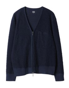 boucle terry zip cardigan