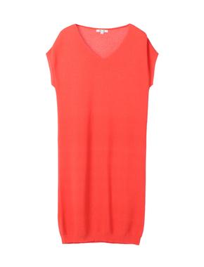 threedots(スリードッツ)のgarter sweater s/s v neck dress(Vネック ニットドレス)