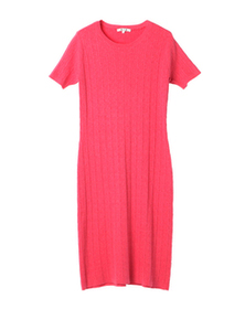 cotton melange crew neck dress
