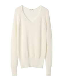mixed cotton sweaters v neck top