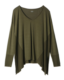 refined jersey mixed v-neck top