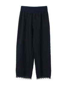 woven linen cropped pant
